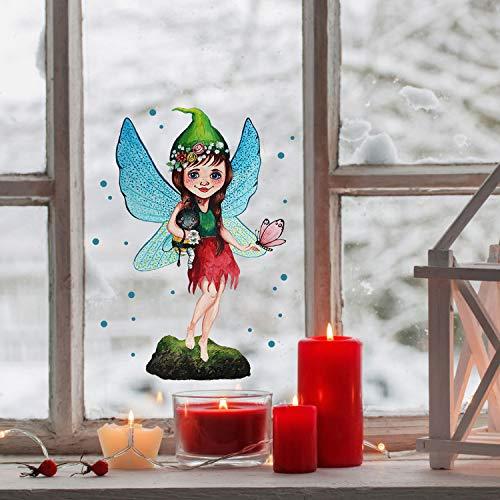 ilka parey wandtattoo-welt Fensterbild Elfe Fee mit Hummelchen & Schmetterling -WIEDERVERWENDBAR- Fensterdeko Fensterbilder bf2