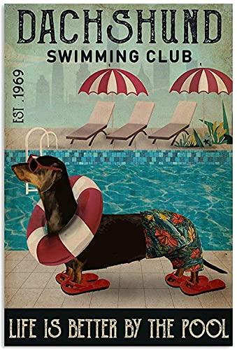 Schwimmen Club Poster Dackel Leinwand GemäLde Vintage Wand Bilder Bilder FüR Wohnzimmer Bar Pub Club Home Wanddekor 50x70 cm Kein Rahmen