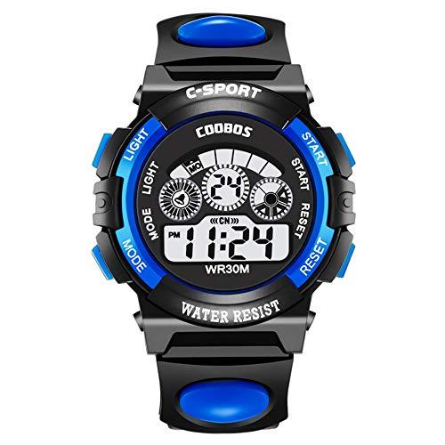 Souarts Kinder Armbanduhr Jungen Männer Wasserdicht Digital Uhr Outdoor Sport Kinderuhren mit Wecker Timer LED-Licht Batterie Silikon Armband (Blau)