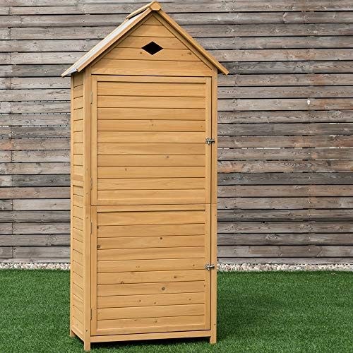 Goplus Wooden Storage Shed Fir Wood Cabinet for Outdoor, Garden, Patio, Yard (Natural)