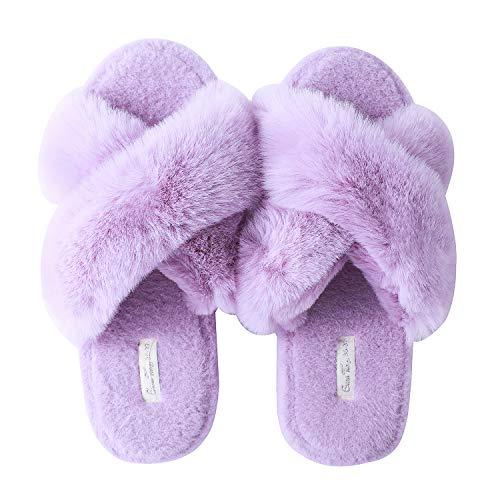 Zapatillas de Casa Libre para Mujer,Sandalia Cruzadas Casa Pelo Supersuave Lujosa Cómoda Tiras Cruzadas