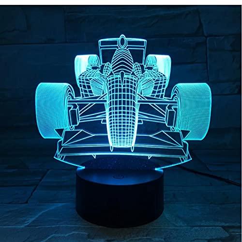 La decoración del coche de carreras 3D llevó la luz nocturna de 7 colores cambia la luz nocturna de la cabecera