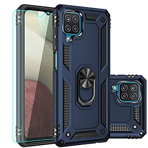 Galaxy A12 Case,Samsung A12 Case,with Screen Protector,[Military Grade] 16ft. Drop Tested Cover with Magnetic Kickstand Car Mount Protective Case for Samsung Galaxy A12, Blue