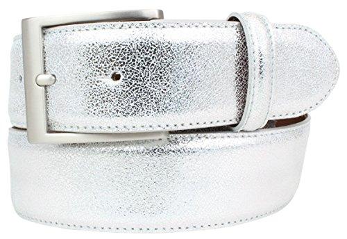 Hochwertiger Gürtel Metall-Optik Echt Leder 4 cm | Leder-Gürtel Metallic-Look 40mm | Metall-Ledergürtel | Silber 85cm