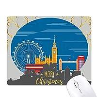 ロンドンの目のダブルデッカーバス・グラフィティ クリスマスイブのゴムマウスパッド