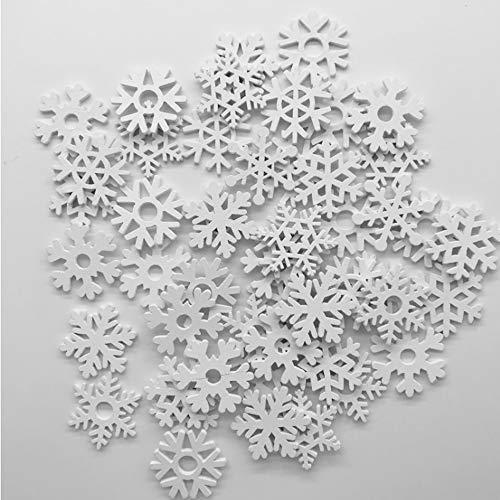 Sweieoni Schneeflocken 150 Stücke Weihnachtsdekoratione Schneeflockenanhänger Mini Schneeflocken Ornamente for Weihnachtsbaumanhänger Fenster Dekoration 35mm (Weiß)