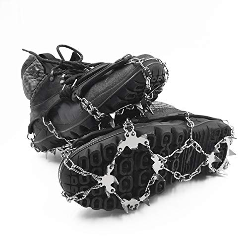 ROCONTRIP Traction Cleats Ice Snow Grips Anti Slip Stainless Steel Spikes Crampons for Footwear M/L/XL (L-Large)