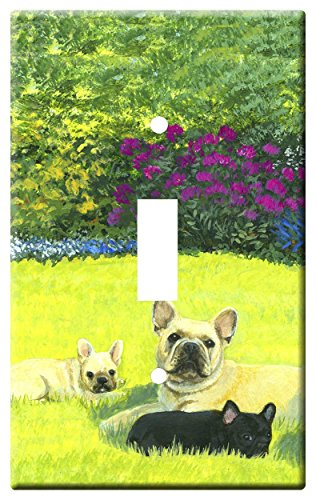 Gone Doggin French Bulldog 4A Single Toggle Light Switch Plate – Metal Wall Plate Frenchie Dog Art