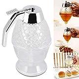 Dispensador de miel con soporte de almacenamiento, dispensador de jarabe de 200 ml, recipiente de plástico acrílico para almacenamiento, a prueba de roturas y libre de BPA, sin goteo, flujo moderado,