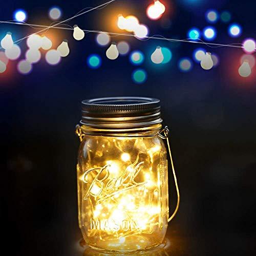 Solarlampen für außen - Mason Jar Licht, Glasgläser Garten Hängeleuchten, Lichterkette für Weihnachten, Solarleuchten Garten für Party, Wasserdichte Solar Laterne, Dekoration für Zuhause Hochzeit