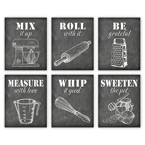 Unframed 8X10 Set of 6 Vintage Style Chalk