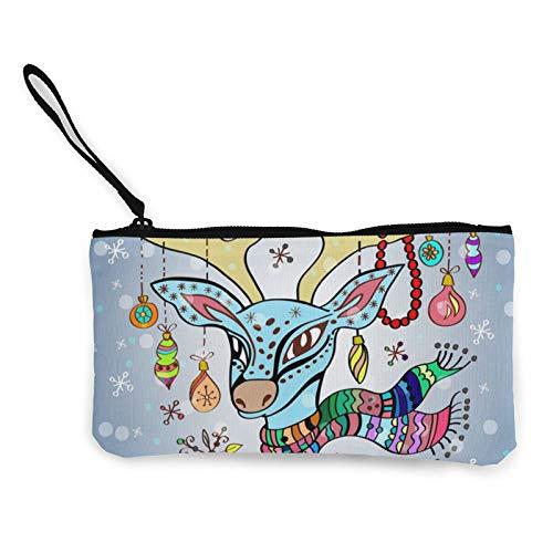 Moneda de lona, bolso de ciervos de Navidad, con cremallera, bolsa de cosméticos de viaje multifunción para maquillaje, bolsa de teléfono móvil, paquete de lápices con asa