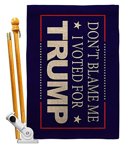 Trump Flag Don't Blame Me Blue Burlap House Flag Set Patriotic Vote President Democrat Republican Tea Party United State American Election Banner Small Garden Yard Gift Double-Sided, Made in USA