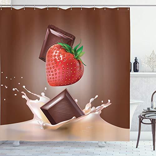 ABAKUHAUS Obst Duschvorhang, Erdbeer-Schokolade, mit 12 Ringe Set Wasserdicht Stielvoll Modern Farbfest & Schimmel Resistent, 175x220 cm, Mehrfarbig