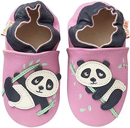 cc0e0ba483308 Tichoups Chaussons bébé cuir souple Dana le panda 20 21