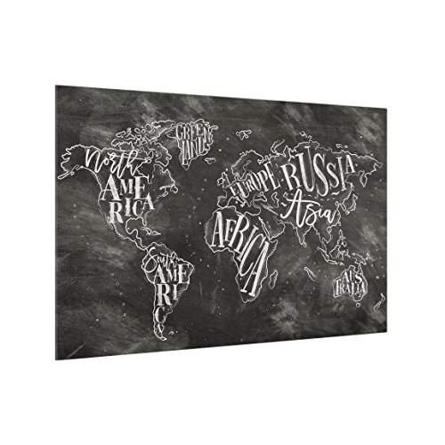 Bilderwelten Panel antisalpicaduras de Cristal - Chalk World Map - Horizontal 2:3, Panel antisalpicaduras Panel de Vidrio para Cocina Panel Protector contra Salpicaduras, Tamaño: 59cm x 90cm