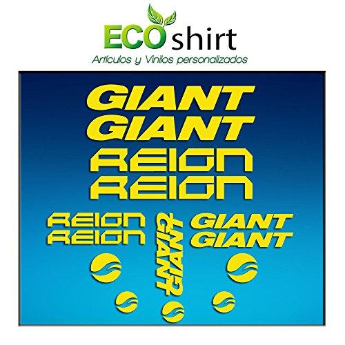 Ecoshirt BT-NHQC-VUQ4 Adesivi Quadro Frame Giant Reign Am30 Stickers Aufkleber Decals Adesivi Bike BTT MTB Cycle, Giallo
