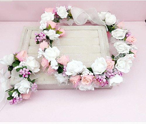 ZGP Couronne de Coiffure Couronne de Fleurs, Bandeau Fleur Garland Fête de Mariée à la Main à la Main Fait Bande Bandeau Bracelet Bande de Cheveux (Couleur : G)