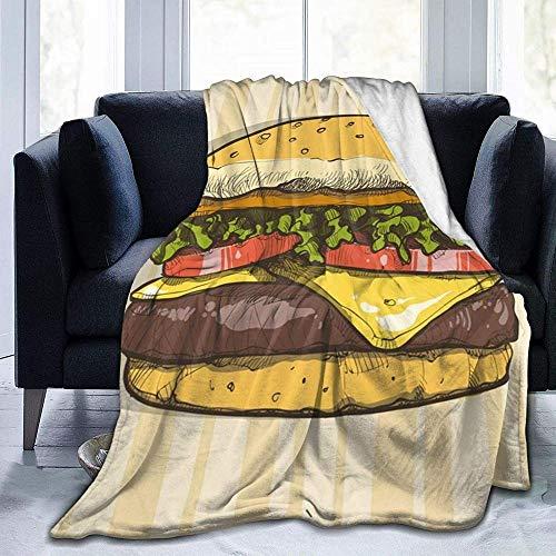 """DYJNZK Wohn-&Kuscheldecken,Hamburger Fleece Bettdecken Warme Flauschige Reversible Mikrofaser-Massivdecken Für Bett Und Couch 80\"""" X60"""