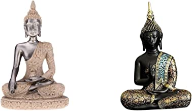 Flameer 2 Pieces Asian Antique Buddhist Buddha Sandstone Figurine Decor,Seated Meditating State Buddha Statue,for Indoor O...