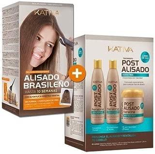 Kativa Brazilian Straightening− Formaldehyde Free // −Tratamiento Post Alisado Keratina - Champú 250 ml, Acondicionador 250 ml y Mascarilla 250 ml