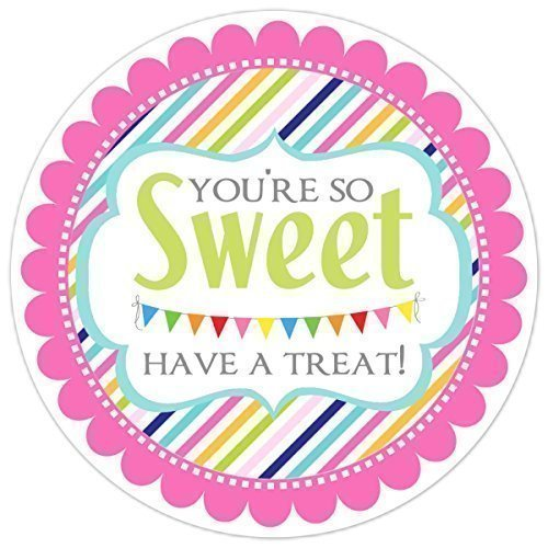 36 You're So Sweet Stickers, Have a Treat stickers, Rainbow Sweet Treat labels, Wedding Favors, Candy Favor Labels,