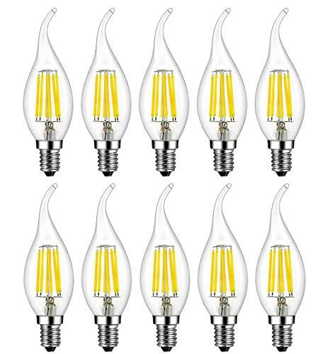 MENTA Lampadina LED E14 Candela 6W equivalente a 60 W Bianca Fredda 6500K 600lm Lampadina Filamento LED E14 C35 a Forma di Fiamma Non dimmerabile Vetro 10 Pezzi