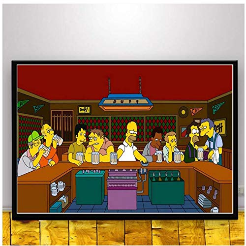Wall Art The Simpsons Scream Anime Cartoon Comics Simpson Poster Picture Posters and Prints Canvas Painting for Room Home Decor-50x70cm Sin marco