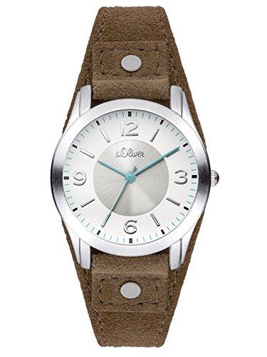 s.Oliver Time SO-3381-LQ horloge voor dames, kwartshorloge met lederen armband