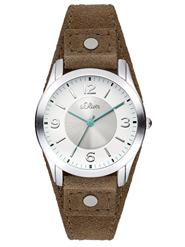 s.Oliver Time Damen Zeitlernuhr Quarz Uhr mit Leder Armband SO-3381-LQ
