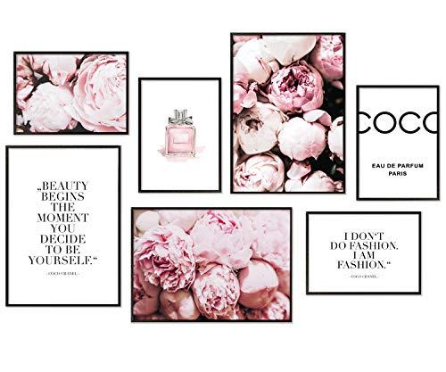 Hyggelig Home Premium Poster Set - 7 passende Bilder im stilvollen Set als Wohnzimmer Deko - Collage Wand Bild Schlafzimmer - 3 x DIN A3 + 4 x DIN A4 - Set Coco Ohne Rahmen