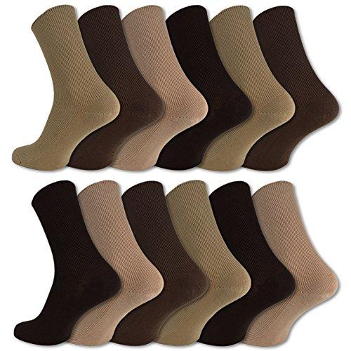 12 Paar Socken ohne Gummidruck 100prozent Baumwolle Damen und Herren Diabetiker Socken (39-42, Beige/Braun)