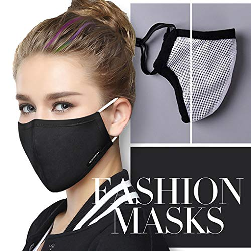 Tvoip Fashion Style Mask On The Mouth Anti dust mouth mask Activated Carbon Filter Mouth-muffle Mask (One Mask +2 Filters) Anti PM2.5 Fabric Face Mask (Black)