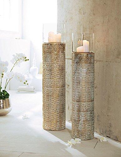 Pureday Windlichtsäule Oriental mit Ornamenten Metall Glas Gold - klein (ca. Ø 25 x Höhe 103 cm)