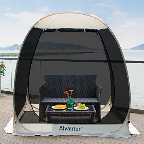 Alvantor Screen House Room Camping Tent Outdoor Canopy Dining Gazebo Pop Up Sun Shade Hexagon Shelter Mesh Walls Not Waterproof 6\'x6\' Beige Patent