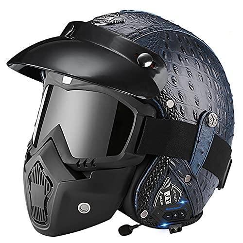 Bluetooth Casco Moto Jet,ECE Homologado,Adultos Casco Moto Abierto 3/4 Casco Moto para Mujer y Hombre,Casco Crash para Mofa Piloto Cruiser Chopper Scooter Biker H,M=57~58cm