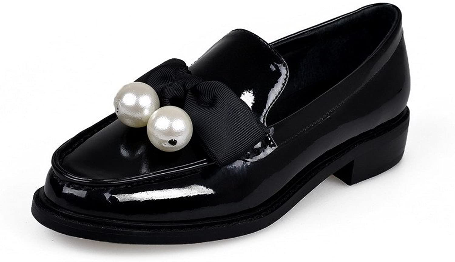 AllhqFashion Women's Round Closed Toe Cow Leather Low Heels Solid Pumps with Bowknot and Pearly