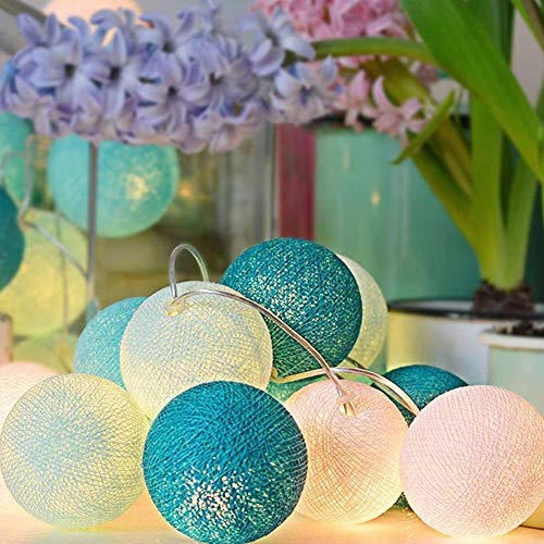LED Cotton Ball String Fairy Lights, HOTSO 10.8FT 20 LED Battery Operated Indoor Outdoor Decorative Light for Home Christmas Wedding Festival Party Garden Kids Bedroom, Teal