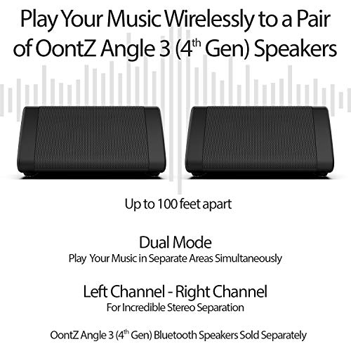 OontZ Angle 3 Bluetooth Portable Speaker, Louder Volume, Crystal Clear Stereo Sound, Rich Bass, 100 Foot Wireless Range, Microphone, IPX5, Bluetooth Speakers (Black)