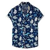 SSBZYES Chemises pour Hommes Chemises D'été à Manches Courtes T-Shirts pour Hommes Chemises Imprimées Chemises à Fleurs Fines Revers De Plage Chemises à Fleurs à Manches Courtes