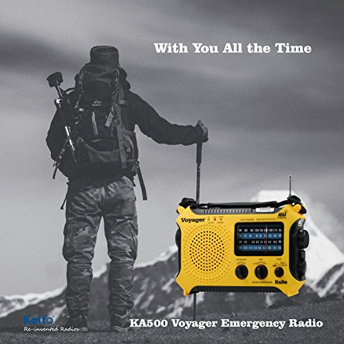 Product Image 8: Kaito KA500 5-way Powered Solar Power,Dynamo Crank, Wind Up Emergency AM/FM/SW/NOAA Weather Alert Radio with Flashlight,Reading Lamp and Cellphone Charger, Yellow