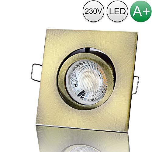 lambado® Premium LED Spot 230V Altmessing - Hell & Sparsam inkl. 5W GU10 Strahler warmweiß - Moderne Beleuchtung durch zeitlose Einbaustrahler/Deckenstrahler