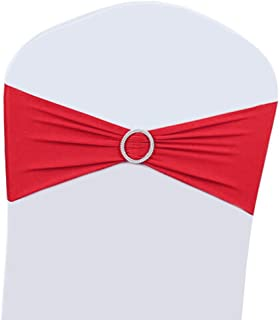 Best 50PCS Wedding Chair Decorations Stretch Chair Bows and Sashes for Party Ceremony Reception Banquet Spandex Chair Covers slipcovers (50, Red) Review