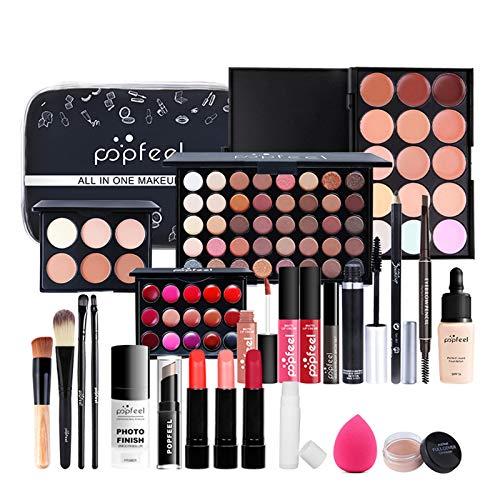 24 Pièces Ensemble-cadeau de Maquillage Tout-en-un Kit de Démarrage Essentiel de Maquillage Ensemble de Maquillage avec Fard à paupières Palette cosmétique pour Les Femmes Filles Idée Cadeau de Noël