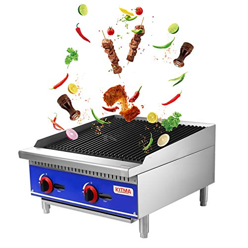"""Grill and 24"""" Natural Gas Countertop Charbroiler - KITMA Commercial Radiant Charbroiler Gas Barbecue Grill - Stainless Steel Gas grill - Restaurant BBQ Equipment, 70000 BTU Gas Grills Natural"""