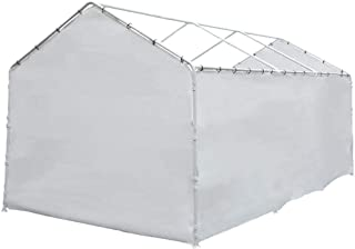 Abba Patio Replacement Cover for 12 x 20-Feet 8 Legs Carport Shelter with Rings, White (Frame & Top Cover Not Included)
