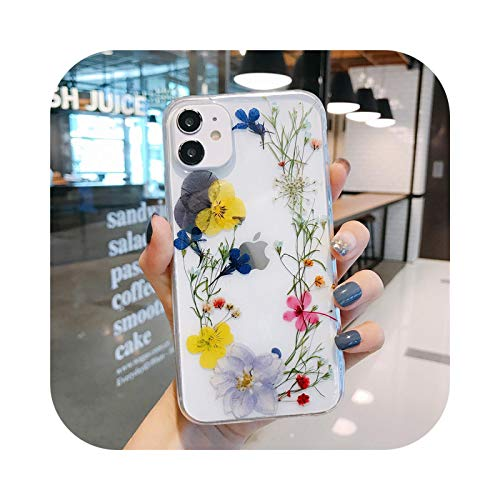 Fashion Real Dry Flower Clear Phone Case For iPhone 7 11 Pro XS MAX XR SE2020 X 8 Plus Floral Soft Silicone Cover Fundas-Style 1-For iPhone 7