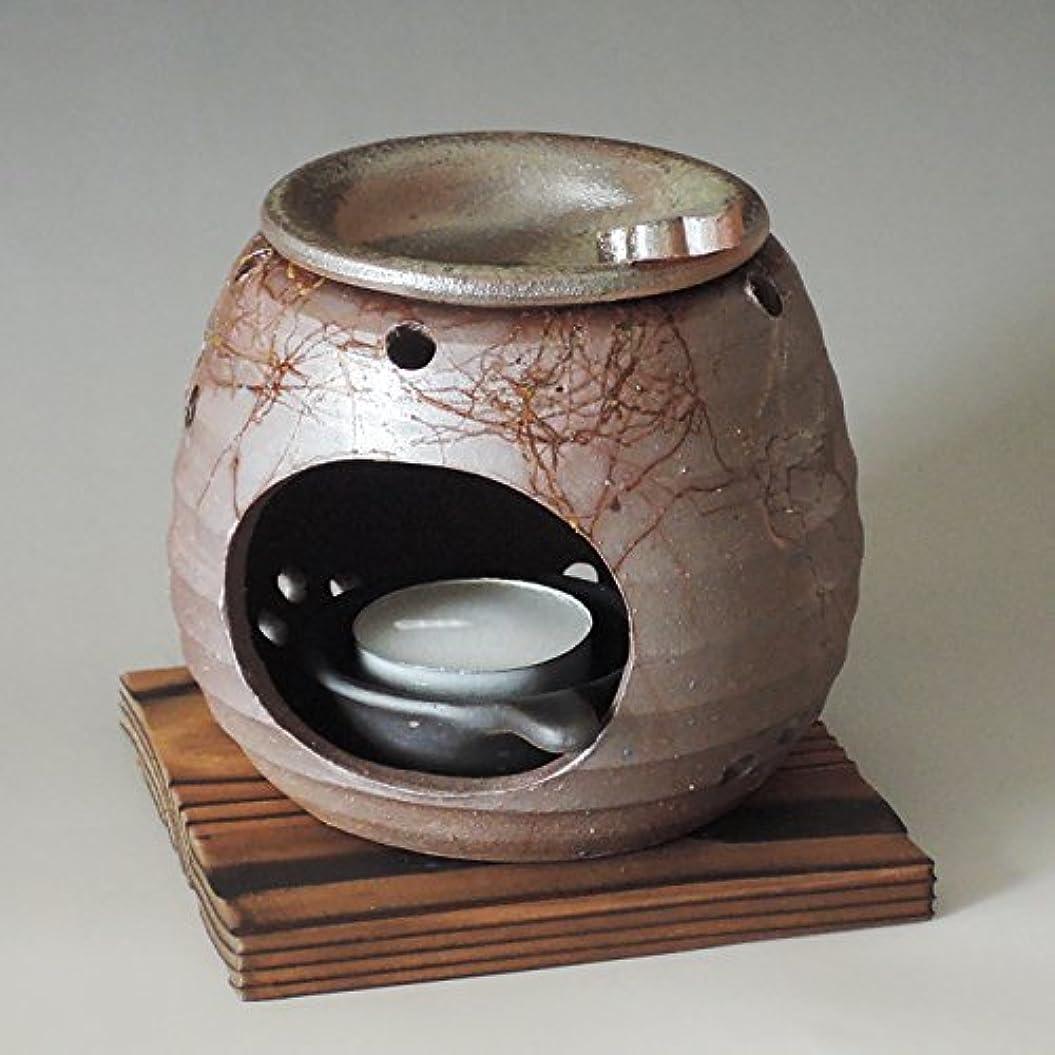 薄暗いナラーバーバドミントン茶香炉 常滑焼 石龍作「藻掛け」川本屋茶舗