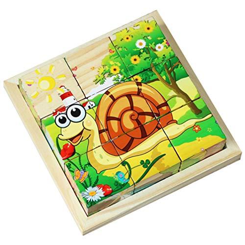Exceart Dier Kubus Puzzel Houten Blok Legpuzzels Zeszijdige Bouwpuzzel Educatief Voorschools Leren Speelgoed Voor Peuters Kinderen Insect