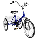 Bruce & Shark Adult Folding Tricycle Bike 3 Wheeler Bicycle Portable Tricycle 20' Wheels Blue